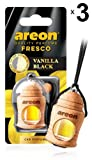Areon Fresco Ambientador Vainilla Negra Coche Perfume Casa Olor Liquido Botella Mini Original Madera Colgar Colgante Retrovisor Oficina 3D 4ml ( Vanilla Black Pack de 3 )