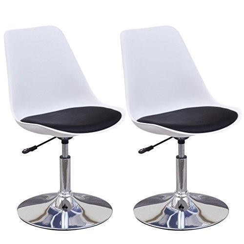 vidaXL Set 2 Sedie da tavola bianco e nero girevoli con altezza regolabile