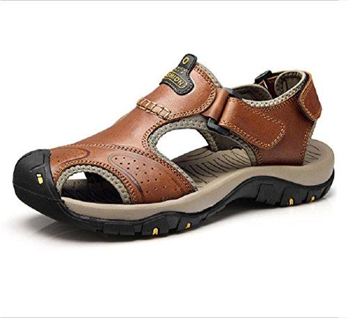 T-gold sandali sportivi da uomo estive sandali in pelle punta chiusa scarpe da trekking(40 eu,marrone)