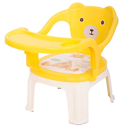 Baybee Baby Chair, With Tray Strong And Durable Plastic Chair For Kids/Plastic School Study Chair/Feeding Chair For Kids,Portable High Chair For Kids 1-7 Years (Yellow)