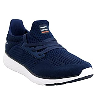 A&H Footwear Mens Red Tape Lightweight Gel Memory Foam Slip On Mesh Go Walk Sports Gym Fitness Running Sneakers Trainers UK Sizes 7-11 (UK 7, Navy)