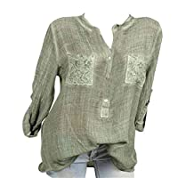 SHOWNO Womens Cotton Pockets Casual Heap Sleeve Blouse T-Shirt Top Army Green 4XS