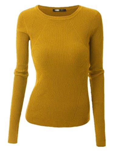 Gogofuture Maglione Donne Maglieria Casuale Girocollo A Manica Lunga Autunno Invernale Pullover Allentato Felpa Slim Yellow