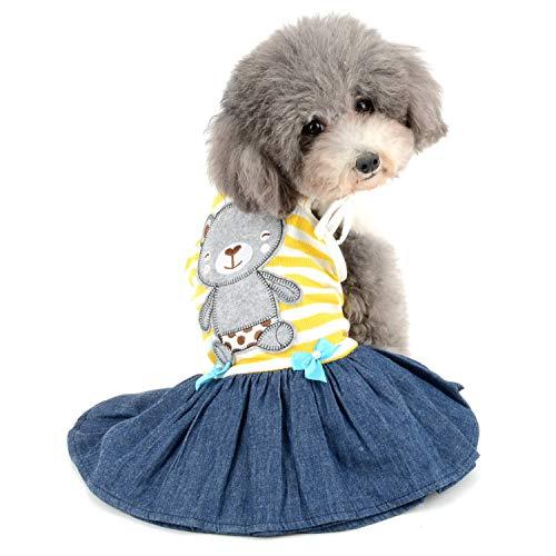Zunea Gestreiftes Hundekleid für kleine Hunde und Mädchen, niedlicher Bären-Druck, Denim-Rock, Kleidung, Sommer, Frühling, Haustier, Hunde und Katzen, (Yorkie Bär Kostüm)