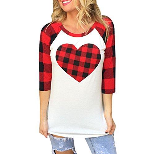 ubabamama Mädchen PLAIDED Bluse, Frauen Tartan Herz bedruckt 3/4Sleeve T-Shirt Geschenk lose Casual Tee (Plaid-luxus-kleid-shirt)