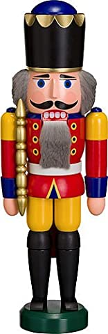 German nutcracker King red, height 29 cm / 11 inch, original Erzgebirge by Seiffener Volkskunst (Seiffener Schiaccianoci)