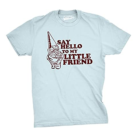 Crazy Dog TShirts - Say Hello to My Little Friend TShirt Funny Lawn Gnome Movie Quote Tee (Blue) 5XL - Homme