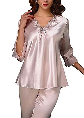 Aivtalk Elégant Ensemble de Pyjama Satin 2 Pièce T-shirt à Manche Longues + Pantalons Lingerie Vêtement de Nuit Bordé Dentelle Col-V Chemise de nuit - Rose Clair L