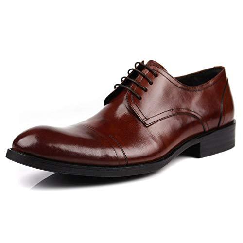 HGDR Männer Art und Weise Schwarz-echtes Leder Derby-Schuhe Spitze Zehe-Schnürer Formale Geschäfts-Kleid-Schuhe,Brown-41 -