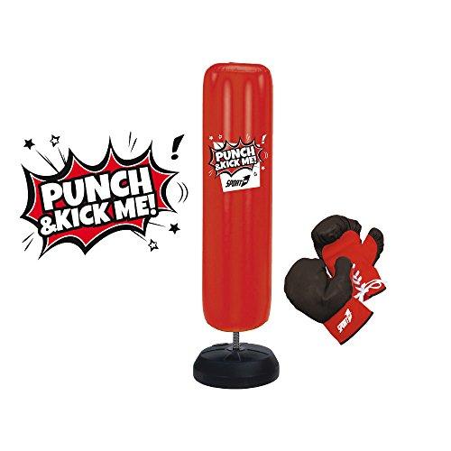Punch bag gonfiabile alto 150cm, sacco da boxe con guantoni, punching ball da terra con base in sabbia da 20Kg, set con sacco boxe e guantoni da 8Oz, sacco per pugilato da terra pratico e divertente
