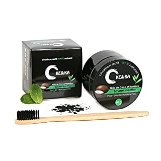 Activated carbon bleaching powder 60 grams+Free Delicate bamboo toothbrush–Mint flavor–for a bright smile–arge size container – 100% natural – effective against bad breath – excellent quality product
