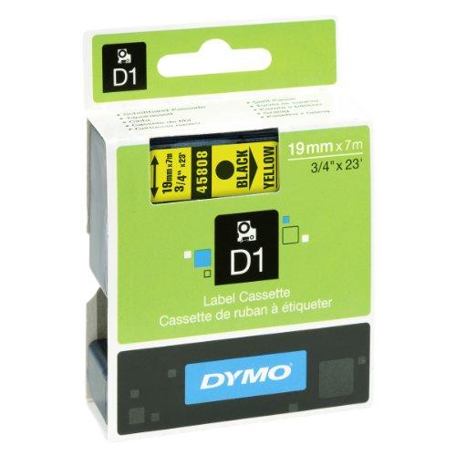 Dymo S0720880 D1-Etiketten (Selbstklebend, für den Drucker LabelManager, 19 mm x 7 m Rolle) schwarz auf gelb