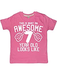 Edward Sinclair This What AN Awesome 7 Year Old Looks Like Bubblegum Pink Girls 7TH Birthday T-Shirt In Size 7-8 Years With A White Glitter Print