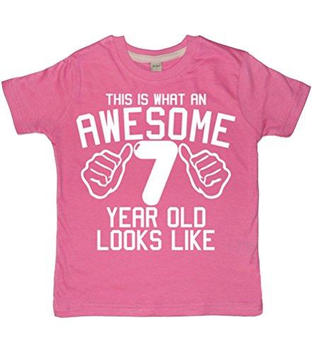 e, was eine Awesome 7Jahr alt aussieht, Bubblegum Pink Mädchen 7TH Birthday T-Shirt in Größe 7-8Jahre mit Einer weiß Glitzer Print ()