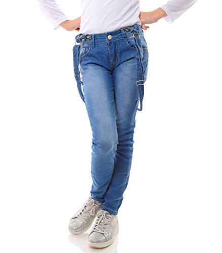 Hello Girl Mädchen Jeans Latz Hose Stretch Jeanshose Röhren 21739, Größe:176