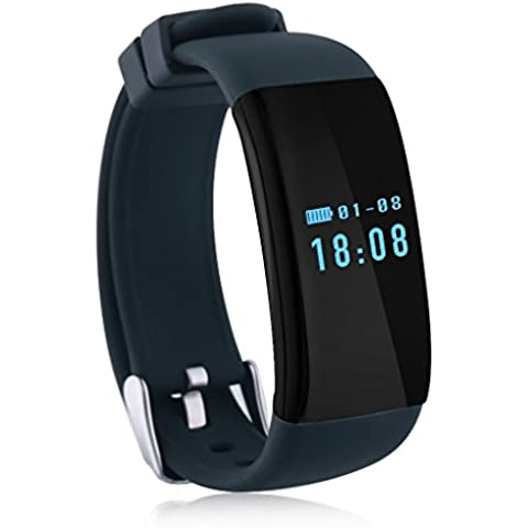 Diggro DFit - Impermeable Ajustable Smartwatch Reloj de Pulsera Android IOS (Pantalla OLED, Ritmo Cardíaco, Podómetro, Monitor del Sueño, Recordatorio de Llamada y Mensaje),