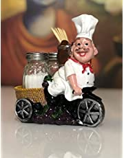 Nyrwana Sitting French Chef Pierre Glass Salt and Pepper Shaker Set with Decorative Display Stand Table Centerpiece Figurine