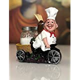 Nyrwana Sitting French Chef Pierre Glass Salt and Pepper Shaker Set with Decorative Display Stand Table Centerpiece Figurine-6A