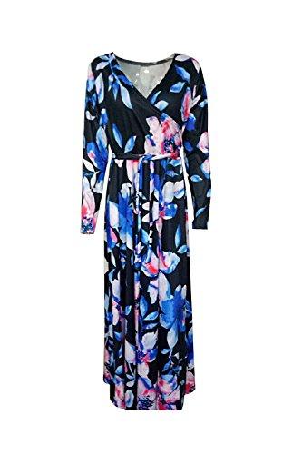 Damen Floral Tunnelzug Maxi Cocktail Kleid Partei Kleid Black