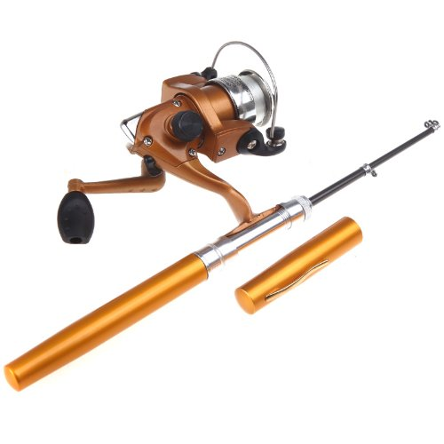 Lixada Angelrute Aluminium Pocket Pen Rod Fishing Mini Teleskop Angelrute Pole + Aufroller (Gold)