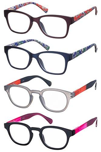 Lesebrillen im 4er-Set / Panto-Brille und Wayfarer Brillengestell aus Kunststoff + 3.5