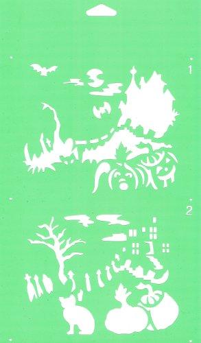 30cm x 17,5cm Flexibel Kunststoff Universal Schablone (2 Schritten) - Textil Kuchen Wand Airbrush Möbel Dekor Dekorative Muster Torte Design Technisches Zeichnen Zeichenschablone Wandschablone Kuchenschablone - Halloween Schloss Landschaft
