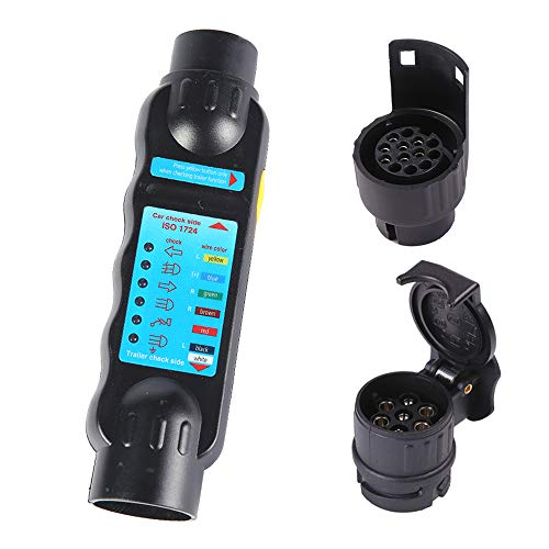 Fajerminart 7 Polig Anhänger Prüfgerät + Adapter, 12V Anhänger Beleuchtung Diagnose Gerät, Auto, Anhänger, Wohnwagen Licht Verdrahtung Circuit Prüfgerät(Anhänger Prüfgerät & Adapter)