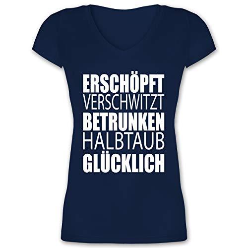 Festival - Erschöpft Verschwitzt Betrunken Halbtaub Glücklich - M - Dunkelblau - XO1525 - Damen T-Shirt mit V-Ausschnitt -