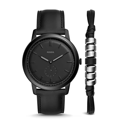 Fossil The Minimalist-Mono Analog Black Dial Men's Watch-FS5500SET Men's Watches at amazon