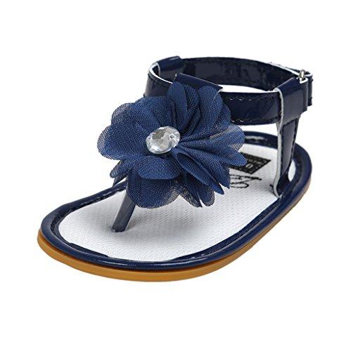 Baby Schuhe Auxma Baby Mädchen Blumen Sommer Sandalen Anti-Rutsch-Krippe Schuhe Für 3-18 Monate (7-13 M, Blau)