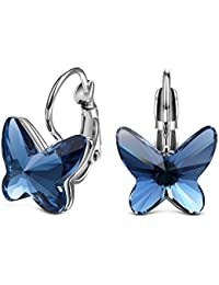 YELLOW CHIMES Crystals from Swarovski Butterfly Crystal Stud Earrings for Women and Girls