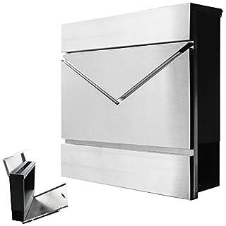 Modern Briefkasten Wandbriefkasten Postkasten Zeitungsrolle Zeitungsfach 3 Farben V2Aox, Farbe:Edelstahl + Anthrazit