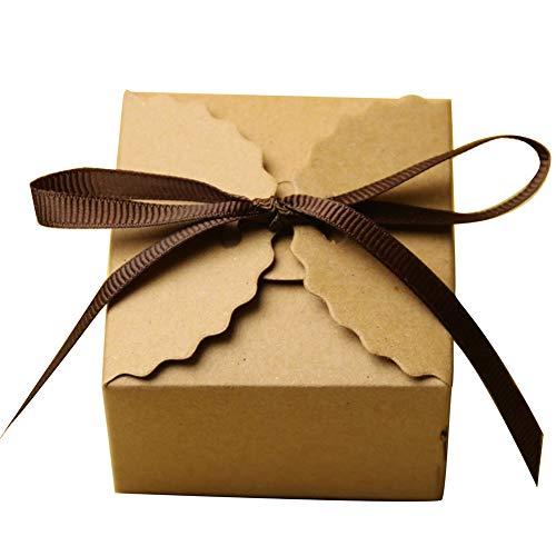 Centeraly Pralinenschachtel 50 STÜCKE Hochzeit Gunsten Vintage Europäischen Mini Quadrat Verpackung Geschenk DIY Party Mit Band Papier(Gelb)