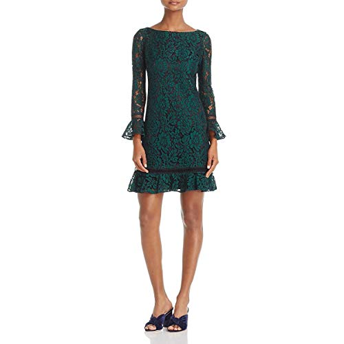 Eliza J Womens Lace Overlay Bell Sleeves Cocktail Dress