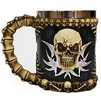Taza de café de acero inoxidable JINCHANGWU mug creativa taza retro cráneo 450 ml