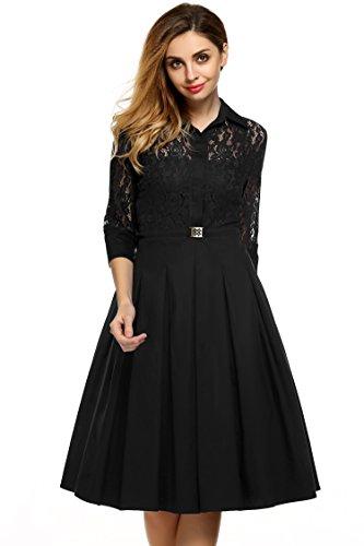 ACEVOG Damen Kleid 3/4 Ärmel Elegant Revers Spitzen Cocktailkleid ...