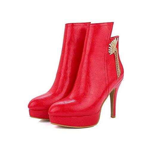 VogueZone009 Donna Chiodato Punta Tonda Tessuto Perla Cerniera Stivali con Metallo Rosso