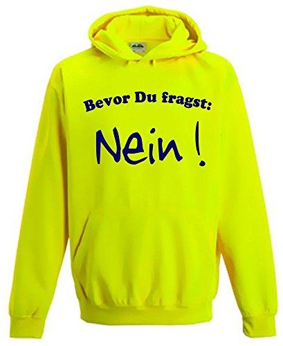 Coole-Fun-T-Shirts Bevor DU FRAGST - Nein ! Kinder NEON Sweatshirt gelb Kinder 12/13 Jahre
