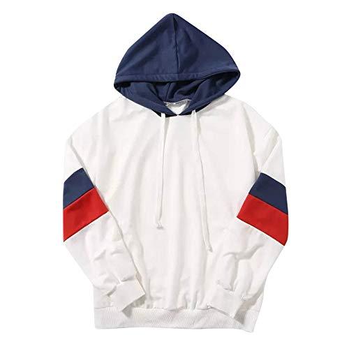 Hmeng Sweatshirt Pullover Fleece Drop Schulter Gestreiften Hoodie (Weiß, XL)
