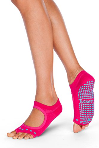 Tucketts Womens Yoga Toe Socks, Toeless Non Slip Skid Grippy - Allegro Style (Magenta Cacti)