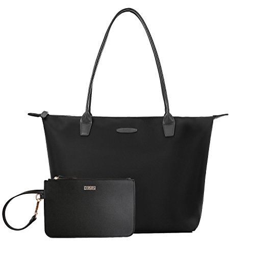 ECOSUSI Nylon Shopper Tasche Schulterbeutel Arbeit Handtasche Schwarz (Tasche Schulter)