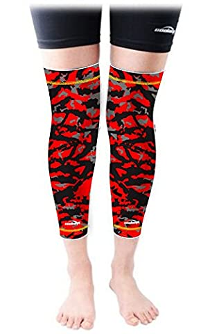 Knee Pads COOLOMG Pair(2 Pieces) Leg Support Elasticated Long Sleeves Honeycomb Foam Patella Protector Basketball Handball Roller Skating Printed Kids Adult Red L