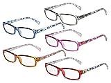 Eyekepper 5 Paia di Occhiali da lettura Eleganti da Donna Occhiali di Moda per Signore +1.25