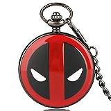 Herren Taschenuhr, Coolen Deadpool Muster Taschenuhr mit 30cm Kette, Geschenk für Kinder, Kinder Weihnachts Geschenk