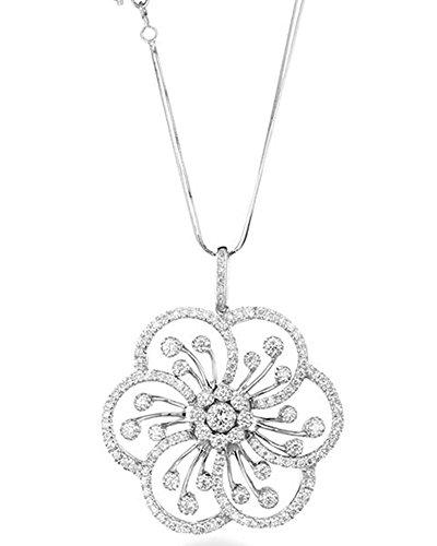 Weiß Gold und Diamanten Anhänger mit Halskette CT 2,75Charme Von Luxus Weihnachten Geschenk für Ihre Geschenk für Ihren Jahrestag Charme Frau blumenförmigen Marika Gioielli Made in Italien