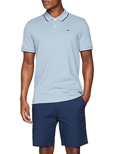 JACK & JONES Herren Poloshirt Jjecontrast Stripe Polo SS Noos, Blau (Faded Denim Detail: Slim Fit), X-Small