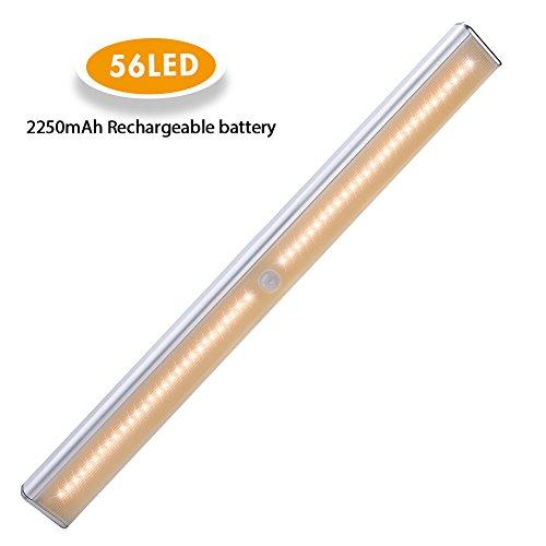 Schrankbeleuchtung 56LED, Cynthia schranklicht mit Bewegungsmelder , mittels USB Kabel aufladbar, mit einem Magnetstreifen installierbar, geeignet für Kleiderschrank, Küche, schlafzimmer (warmweiß)