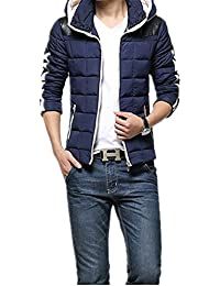 Blouson de duvet épais pour homme(Taille asiatique) (L, Bleu)
