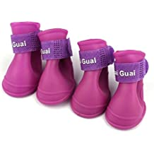 Ularma Color caramelo impermeable de goma zapatos de la lluvia perro (4PC conjunto 1) (S, púrpura)