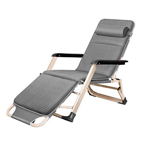 Chaise inclinable Pliante Zero Gravity Chaises Relaxer Sun Lounger Deck Chaises Jardin Beach Office avec Coton Pad Gris